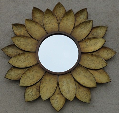 CHSGJY Sunflower Mirror Wall Hanging Handcrafted Metal Art Decor 24 inches Sun Flower Home Bathroom Indoor Living Decor