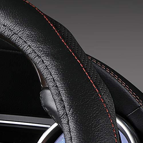 DC Steering Wheel Cover Anti-Slip Genuine Leather 38cm//15inch Offwhite-4Khaki