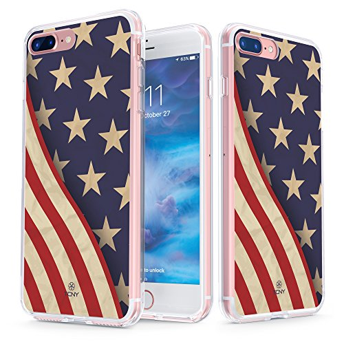iPhone 7 Plus American Flag Case - True Color Clear-Shield Grunge American Flag Printed on Clear Back - Perfect Soft and Hard Thin Shock Absorbing Dustproof Full Protection Bumper (Grunge Guy)