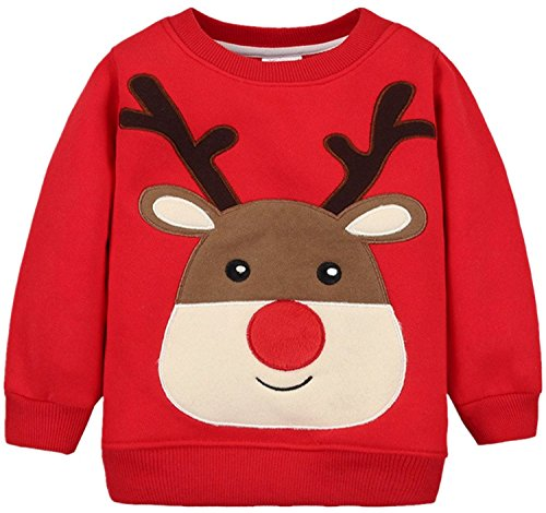Baby Boys Santa Claus Sweater Kids Christmas Jumper Toddler Hoodies for Girls (Red,3-4T) (Kids Ugly Christmas Sweater)