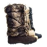 Tara Brown Suede Mukluk Wrap Around Mid Calf Faux Fur Boots, Women Winter Snow Boot -10