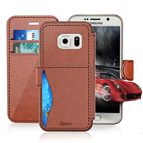 Samsung Galaxy S6 Leather Wallet Case with Cards Slot and Metal Magnetic, Slim Fit and Heavy Duty, TAKEN Plastic Flip Case / Cover with Rubber Edge, for Women, Men, Boys, Girls (Dark Brown)