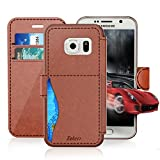 Samsung Galaxy S 6/S6 Active Leather Wallet Case with Cards Slot and Metal Magnetic, Slim Fit and Heavy Duty, TAKEN Plastic Flip Case / Cover with Rubber Edge, for Women, Men, Boys, Girls (Dark Brown)