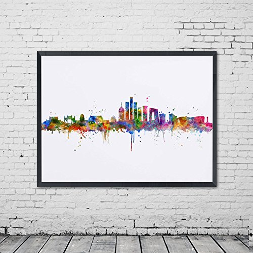 Poster Beijing Print (Watercolor Beijing City Poster Skyline Decor Wall Art China City Wall Hanging Painting Art Print Beijing Office Poster Unique Present No Frame)