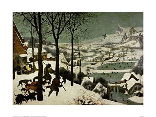 ピーテルブリューゲル *雪中の狩人 【ポスター+フレーム】約 61x 81cm ホワイト B0036L4I26 ホワイト ホワイト