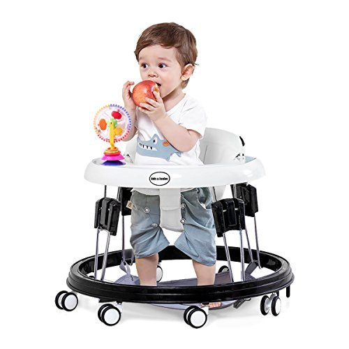 Kids&Koalas Foldable Baby Walker,Height Adjustable and Free Installation Learning Walker ( white) (Abs Tray White)