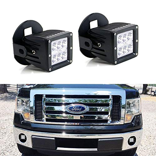 iJDMTOY LED Pod Light Fog Lamp Kit For 2006-2014 Ford F150, Includes (2) 24W High Power 2x3 CREE LED Cubes, Foglight Location Mounting Brackets & Wiring/Adapter Harnesses