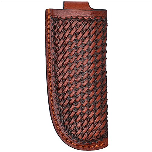 (1 3/4X 4 3D TAN Large Leather Basketweave Hand Tooled Knife)