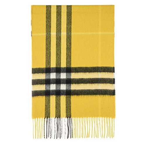 Burberry Unisex Classic Check Cashmere Scarf Yellow by BURBERRY