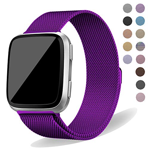 Oitom Compatiable Metal Bands Replacement for Fitbit Versa Smartwatch (Purple Small)