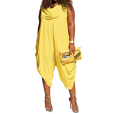 OULIU Womens Plus Size Sleeveless Solid Loose Romper Jumpsuits