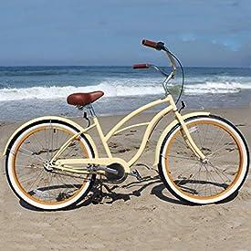 "sixthreezero Women's 3-Speed Beach Cruiser Bicycle, Scholar Cream w/Brown Seat/Grips, 26"" Wheels/17 Frame"