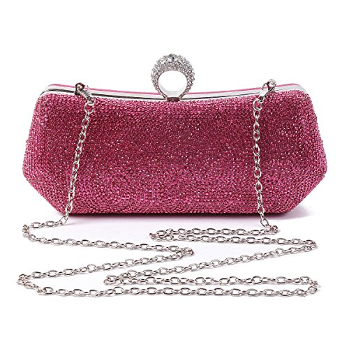 Evening Covered Damara Front Covered Red Front Party Bag Rhinestones Womens Womens Damara Rhinestones R61qx4nC6w
