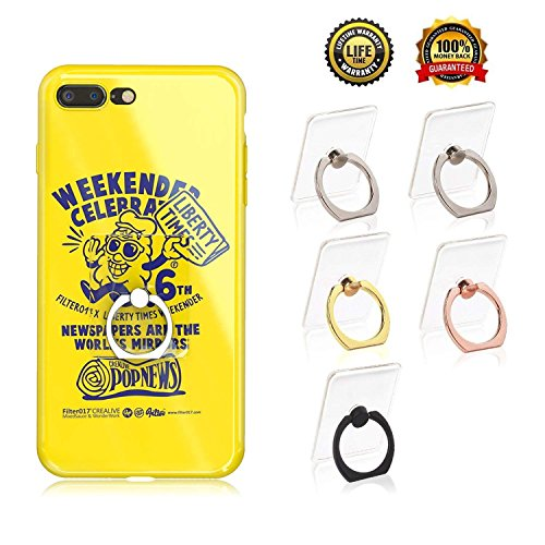 Transparent Cell Phone Ring Holder, Adjustable 360 Degree Rotation and 180°Flip Finger Ring Stand, iPhone and iPad Tablet Ring Holder (5 Pack Mix ()