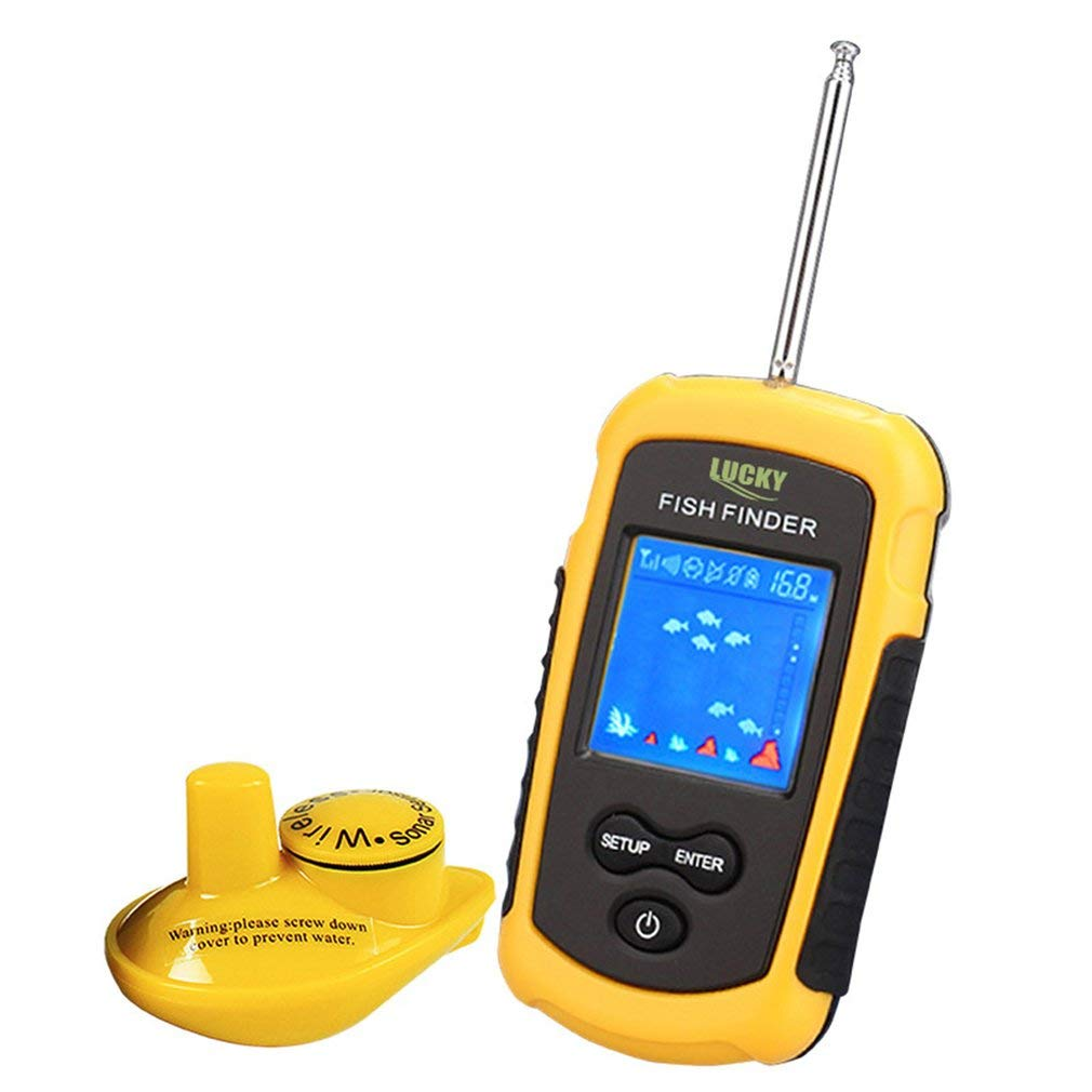 FairytaleMM Lucky Wireless Sonar Fish Finder Detector de Peces a Prueba de Agua de 40m de Profundidad FFW1108-1 (Color: Amarillo y Negro): Amazon.es: ...