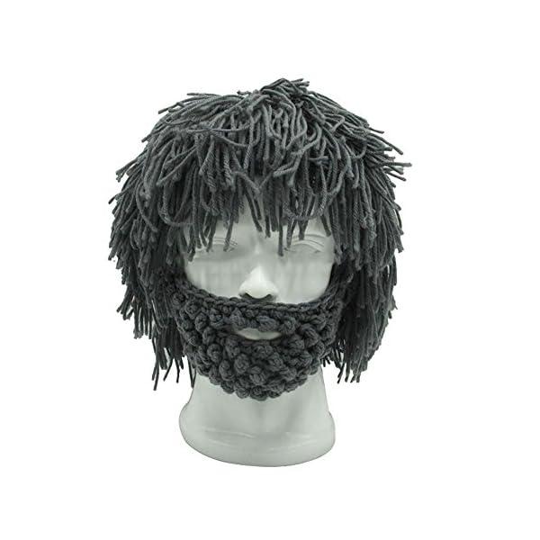 9929331fec1 Funny Hip-hop Men Hobo Wig Beard Knit Crochet Caveman Hat Warm Winter Cap  Mask Gray – Spy Products for Everyone