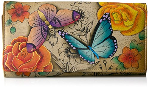 Anna by Anuschka Hand Painted Leather Women's Three Fold Organizer Wallet   Floral Paradise ()