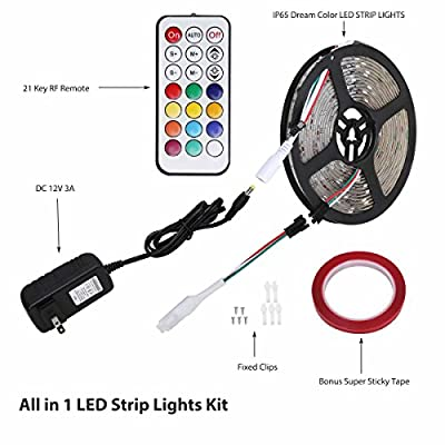 12V RGB LED Strip Lights Kit, Geekeep Addressable Dream Color LED Lighting with Chasing Effect ,Waterproof Neonpixel Led Flexible Tape Light with RF Remote Controller (5M/16.4ft)