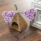 Cute Fluffy Cat Ears Headband Simulation Rose Flower Children Floral Cat Ears Hairband Hoop Girls Hair Accessories C