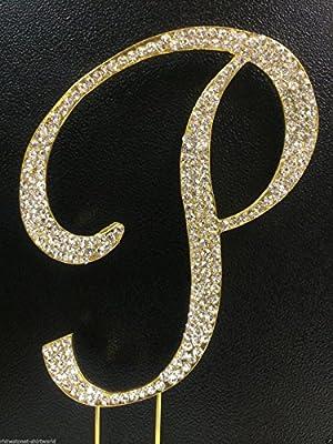 Crystal Rhinestone Covered Gold Monogram Wedding Cake Topper Letter P