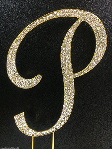 Crystal Rhinestone Covered Gold Monogram Wedding Cake Topper Letter P]()