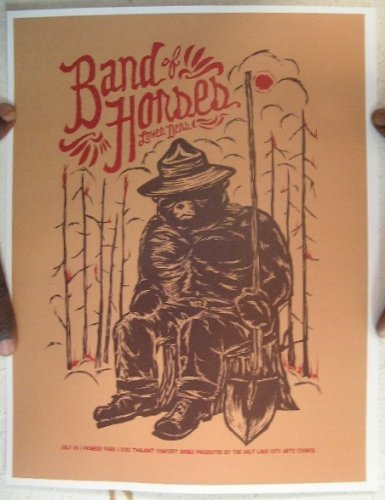 Band Gig Posters - Band Of Horses Concert Gig Poster Salt Lake City UT
