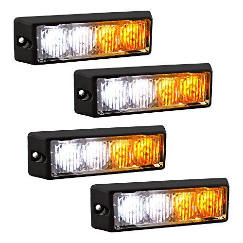 LAMPHUS SolarBlast SBLH04 LED Strobe Grille Flashing Lights [22 Modes] [4 Watt] [TIR] [Weatherproof] Warning Lights for Police & Firefighter Emergency Vehicles - Amber/White (4 Pack)