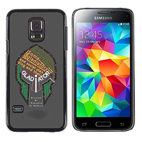 GIFT CHOICE / Slim Hard Protective Case SmartPhone Shell Cell Phone Cover for Samsung Galaxy S5 Mini, SM-G800 // Gladiator Typography Helmet (Halloween Gladiator Accessories)