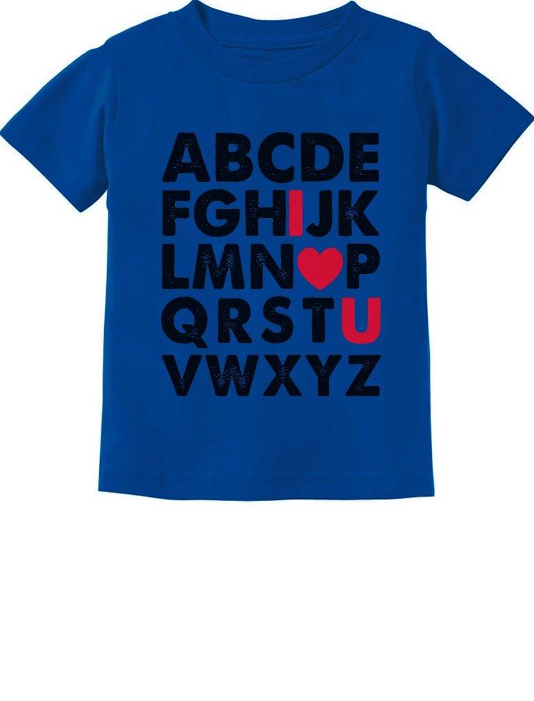 TeeStars - Valentine's Day Gift Alphabet ABC I Love You Toddler Kids T-Shirt 5/6 Blue