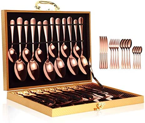 YiMeng 24-Piece Silverware Set , Stainless Steel Flatware Cutlery Set Include Knife/Fork/Spoon/Teaspoon For Home Kitchen Restaurant Hotel, Mirror Polished, Dishwasher Safe (Rose Gold)