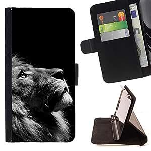 BullDog Case - FOR/Samsung Galaxy S3 III I9300 / - / lion photo black white looking up art /- Monedero de cuero de la PU Llevar cubierta de la caja con el ID Credit Card Slots Flip funda de cuer