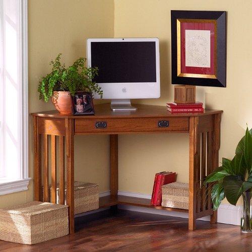 Mission Style Oak Finish Corner Computer Desk
