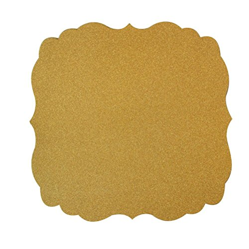 Mybbshower Gold Paper Placemat Wedding Plate Chargers Anniversary Party Table Decoration 12 inch Pack of 12 -