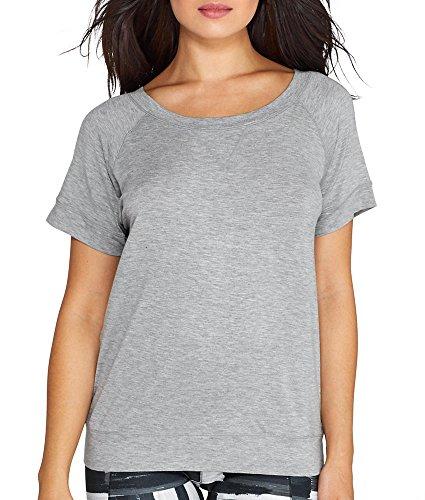 2(X)IST Modal Keyhole Back T-Shirt, L, Light Grey Heather