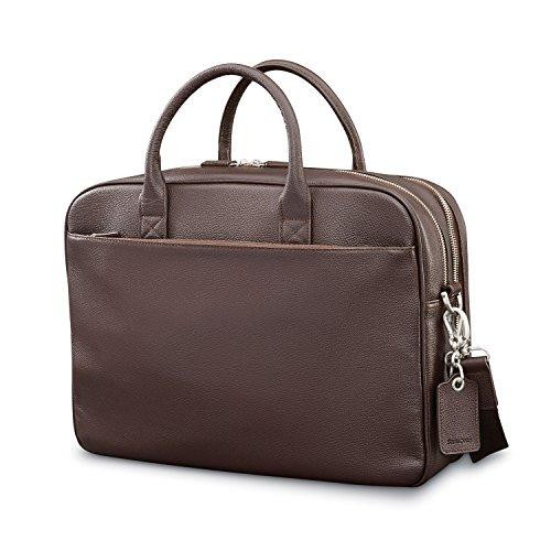 (Samsonite Mens Leather Classic Double Compartment Briefcase Dark Brown)