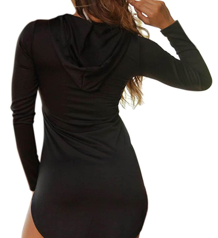 Christmas PEGGYNCO Womens Black Lattice PU Splice Hooded Tee Dress One Size