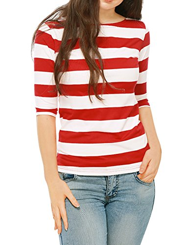 Allegra K Women's Elbow Sleeves Boat Neck Slim Fit Striped Tee Red XS (US 2) ()