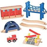 Wooden Train Tracks Accessories Set 100% Compatible with All Major Train Brands - 7 Pieces - By Dragon Drew