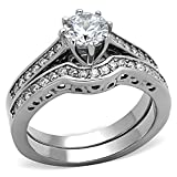 Round Cut Aaa Cz Cubic Zirconia High Polish Stainless Steel Wedding Ring Set Women Size 5-10 SPJ