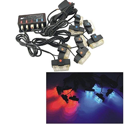 zll1990 12v vehículo 16 llevó la Advertencia de Emergencia Luces estroboscópicas - Rojo&Azul yc95 zll1990320159