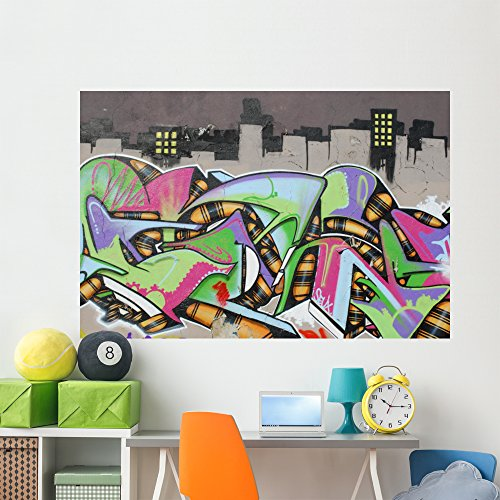 Graffiti Wall City Wall Mural by Wallmonkeys Peel and Stick Graphic (72 in W x 48 in H) WM43401