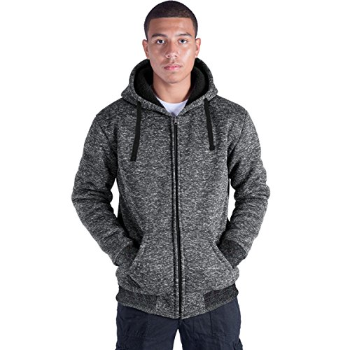 Eurogarment Plus Size S-5XL Marled Fleece Hoodie for Men Heavyweight Sherpa Lined Full Zip Up Big&Tall Long Sleeve Winter Jacket Coat(Dk.Grey, 5XL)
