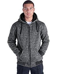 Plus Size S-5XL Marled Heavyweight Fleece Hoodie for Men Sherpa Lined Full Zip Up Long Sleeve Winter Jacket Coat