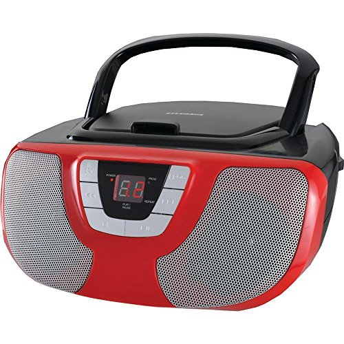Sylvania Portable CD Player Boom Box with AM/FM Radio (Red)