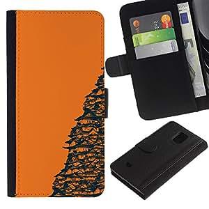 EJOY---Tirón de la caja Cartera de cuero con ranuras para tarjetas / Samsung Galaxy S5 Mini, SM-G800 / --Templo Naranja japonesa