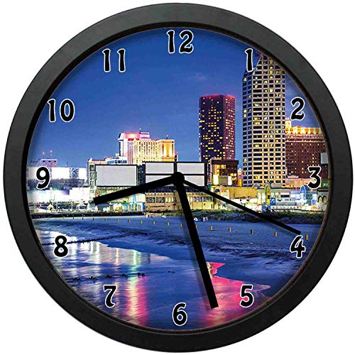 Resort Casinos on Shore at Night Atlantic City New Jersey United States,Violet Blue Pink Yellow,Wall Clock Nice for Gift or Office Home Unique Decorative Clock Wall Decor 12in with Frame -