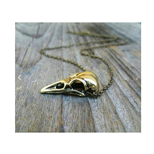 The Labyrinth, Antique Bronze Raven Skull Necklace, Bird Skull Necklace, Unisex Jewelry, Men's Necklace, Mens Jewelry