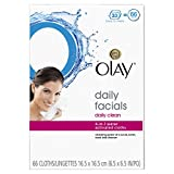 Olay Daily Facials Daily Clean Wipes, 4-in-1 Water Activated Cloths, 66 count