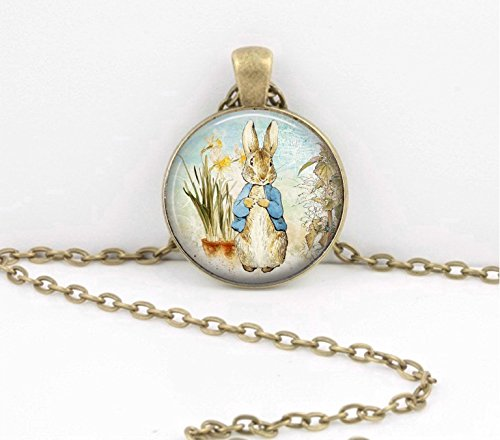 Peter Rabbit Bunny Beatrix Potter Spring Easter Gift necklace pendant or key ring