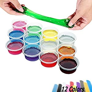 Aitsite 12 Packs 12 Colours Crystal slime set, DIY Magic Soft Jelly Clay Mud Non Toxic Scented Interesting Art creation, Stress Reliever toys for kids and Adults.